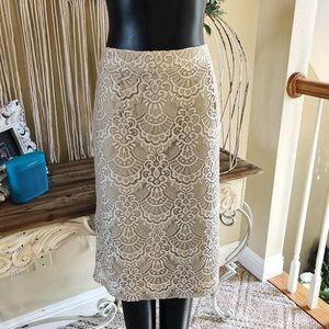 Cream Lace Midi Skirt
